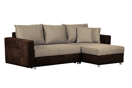 Couch mit Schlaffunktion und Bettkasten / Recamiere rechts oder links montierbar / Ecksofa in L-Form / Mit Strukturstoff