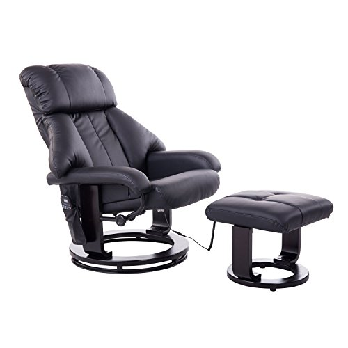 Homcom Massagesessel Relaxsessel Fernsehsessel 10 Point Massage mit Heizfunktion inkl Hocker