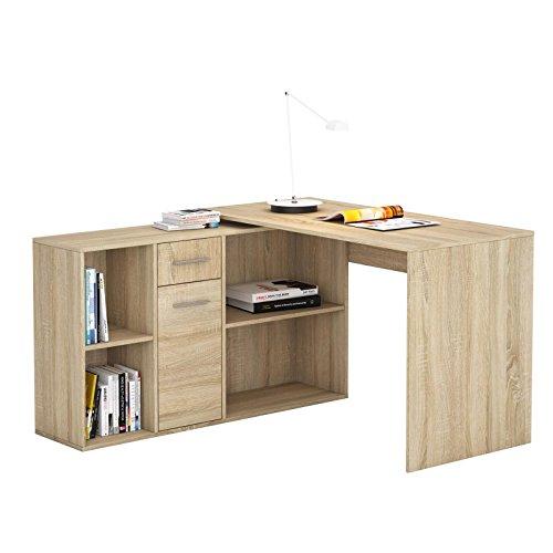 CARO-Möbel Schreibtisch Eckschreibtisch Computertisch Diego, in Sonoma Eiche, mit Regal, 120 x 75 x 121 cm, Kinderschreibtisch