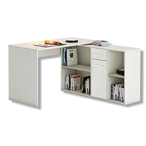 CARO-Möbel Schreibtisch Eckschreibtisch Computertisch Diego, in weiß, mit Regal, 120 x 75 x 121 cm, Kinderschreibtisch