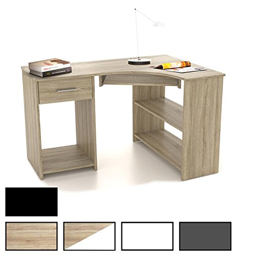 CARO-Möbel Schreibtisch Silvia Eckschreibtisch Computertisch mit Tastaturauszug, 117 x 74 x 78 cm