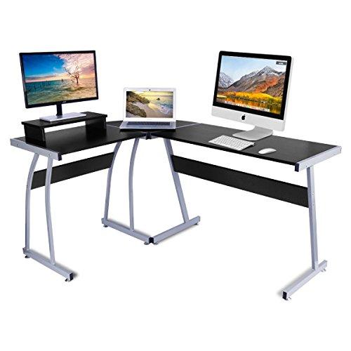 Computer-Schreibtisch, dosleeps L-förmigen Große Ecke PC Laptop Schreibtisch Studie Tisch Workstation mit Schieberegler Tastatur für Zuhause und Büro–Holz & Metall–schwarz Holzmaserung