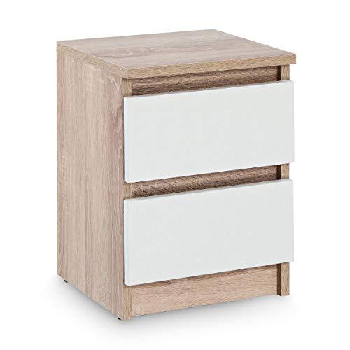 Galdem Nachttisch mit 2 Schubladen Nachtkommode Nachtkonsole Beistelltisch Nachtschrank Eiche Sonoma Weiß