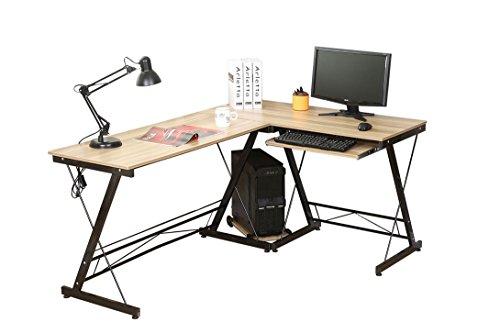 HLC Eckschreibtisch Computertisch Bürotisch mit Tastaturauszug