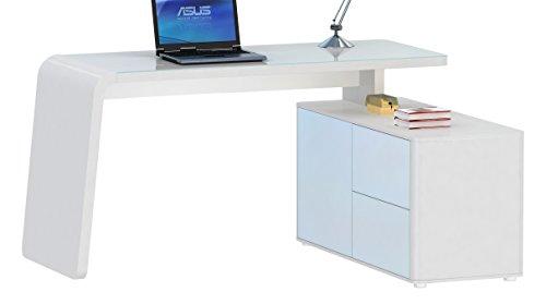 Jahnke Eck-Schreibtisch, E1-Holzwerkstoffplatten, beschichtet und lackiert, ESG-Sicherheitsglas, weiß, 154 x 60 x 76 cm
