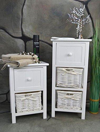Livitat® Badschrank Nachtschrank Badkommode Korbregal Kommode H70 cm Nachttisch Holz Weiß