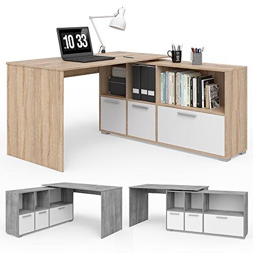 VICCO Eckschreibtisch 136 x 75 cm Weiß / Eiche Sonoma - Schreibtisch Arbeitstisch Winkelschreibtisch Bürotisch