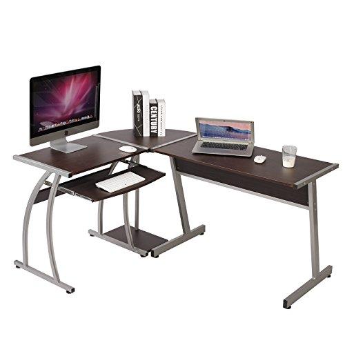 WOLTU Schreibtisch TSG23dc L-Form Eckschreibtisch Winkelschreibtisch Computertisch Bürotisch Arbeitstisch, aus Holz und Stahl, 100x48,5x73,5 & 65x48,5x73,5cm(BxTxH), Dunkelbuche