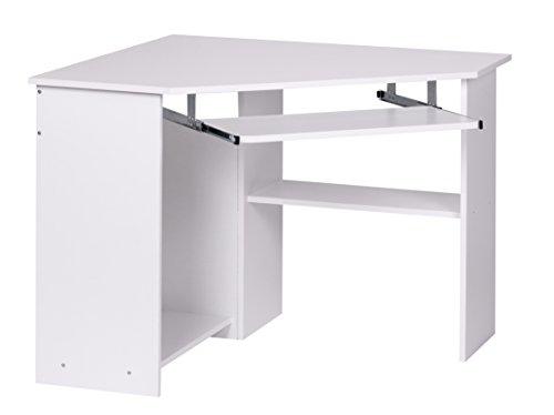 Wohnling Eckschreibtisch Roman, 103 x 72,5 x 97 cm mit Tastaturauszug und Ablagefach, Moderner Schreibtisch für Büro, PC-Tisch Arbeitszimmer, Computertisch Holz, weiß