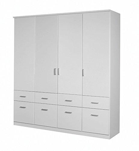 A9N69.3852 Weiß Aalen Kleiderschrank Stauraumschrank Drehtürenschrank ca. 180 cm breit 4türig Rauch Möbel