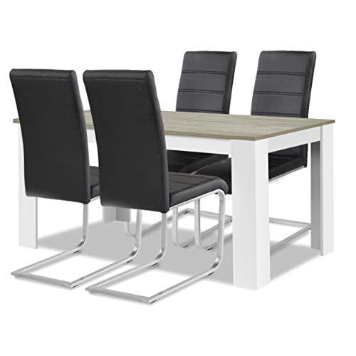 Allegro Agionda® Esstisch + Stuhlset : 1 x Esstisch Toledo Sandeiche Weiss + 4 Freischwinger JAN PIET mit Kunstleder in schwarz