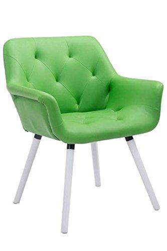 Besucherstuhl, Konferenzstuhl, Wartezimmerstuhl, Esszimmerstuhl, Küchenstuhl, Wohnzimmerstuhl, Wartestuhl, Messestuhl Materiealmix weiß/grün #Cassidy