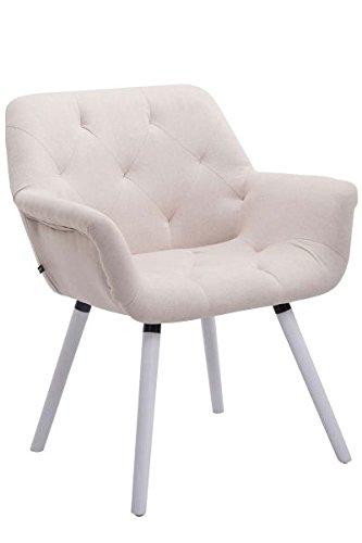 Besucherstuhl, Konferenzstuhl, Wartezimmerstuhl, Stuhl, Esszimmerstuhl, Küchenstuhl, Wohnzimmerstuhl, Wartestuhl, Messestuhl Stuhl Stoff weiß/beige #Cassidy
