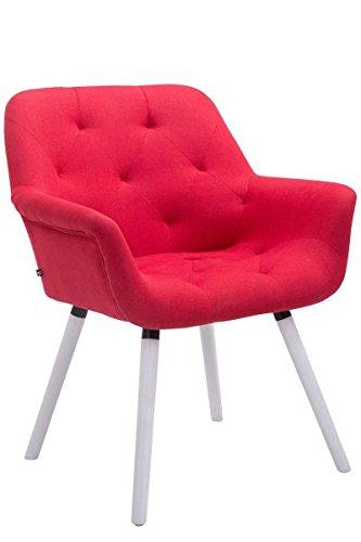 Besucherstuhl, Konferenzstuhl, Wartezimmerstuhl, Stuhl, Esszimmerstuhl, Küchenstuhl, Wohnzimmerstuhl, Wartestuhl, Messestuhl Stuhl Stoff weiß/rot #Cassidy
