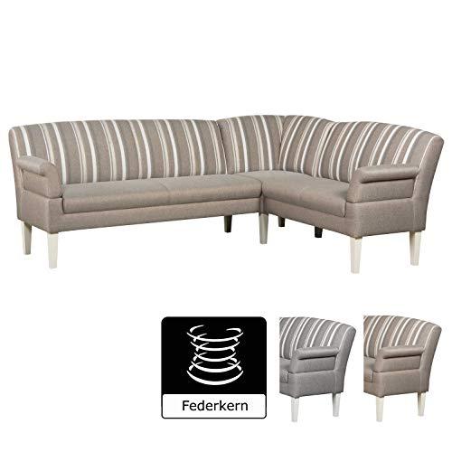 CAVADORE Eckbank Malm für Küche, Esszimmer oder Wohnküche Sitzbank im Landhaus Design mit Armteilfunktion
