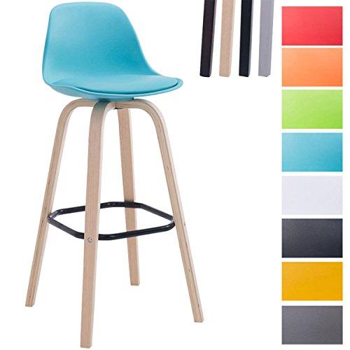 CLP Barhocker AVIKA mit Kunststoff-Sitzschale und Sitzpolster I Tresenhocker mit Rückenlehne und Fußstütze I Barstuhl mit Holzgestell