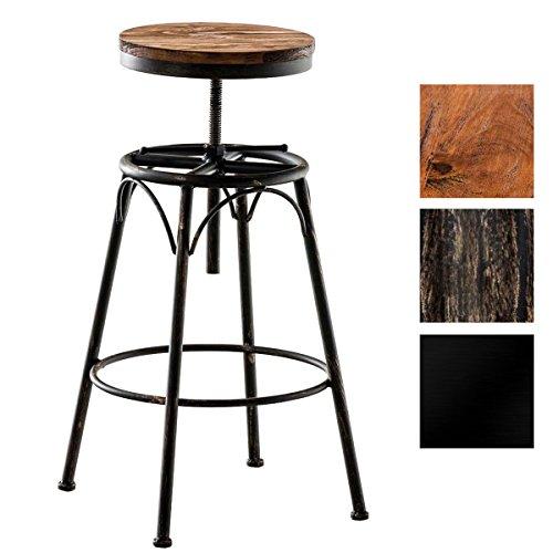 CLP Barhocker BEAM mit Holzsitz und Metallgestell I Höhenverstellbarer Sitzhocker im Industrial-Look I Hocker mit runder Sitzfläche I In verschiedenen Farben erhältlich