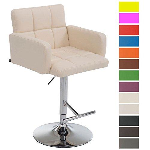 CLP Barhocker LOS ANGELES mit Kunstlederbezug | Höhenverstellbarer Barstuhl mit drehbarem Sitz | Bistrohocker mit Metallgestell | In verschiedenen Farben erhältlich
