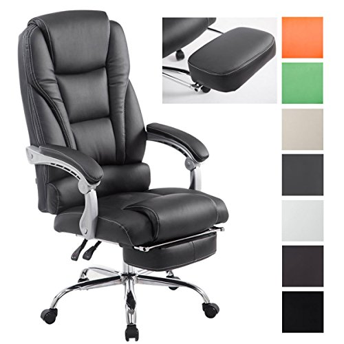 CLP Bürostuhl Pacific mit Kunstlederbezug I Schreibtischstuhl mit Laufrollen I Relaxsessel mit ausziehbarer Fußstütze I In Verschiedenen Farben erhältlich