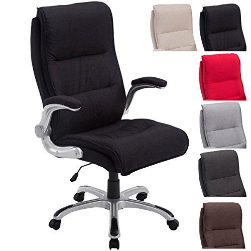 CLP Bürostuhl XXL Villach mit Stoff-Bezug, max. belastbar bis 150 kg, Armlehnen klappbar, höhenverstellbar 45-53 cm, Kunststoff-Gestell