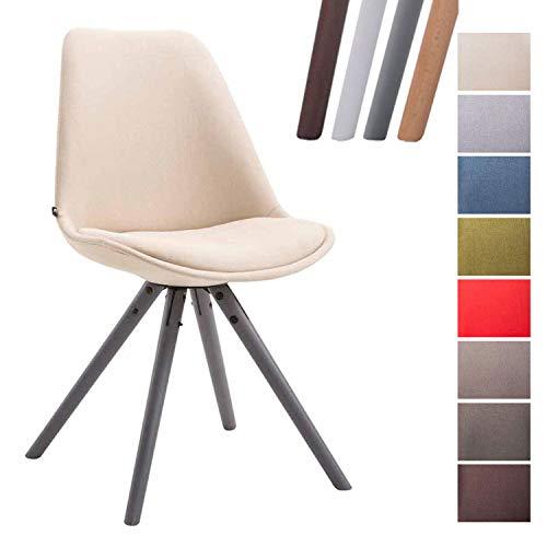CLP Design Retro-Stuhl Toulouse Rund mit Stoffbezug und hochwertigem Sitzpolster I Lehnstuhl mit stabilem Holzgestell I Sitzhöhe 48 cm