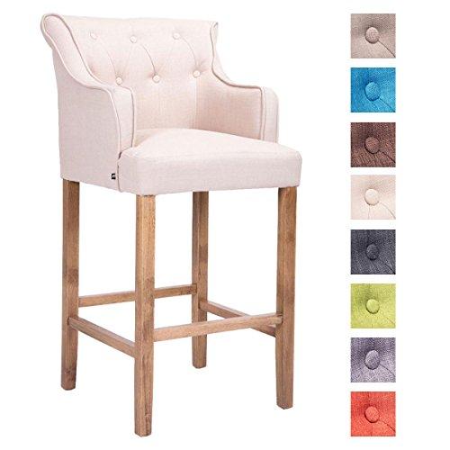 CLP Holz-Barhocker LYKSO mit Stoffbezug | Barstuhl mit sesselförmigem Sitz und Fußstütze | In Verschiedenen Farben erhältlich