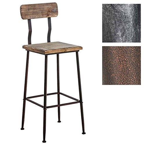 CLP Industrial Design Barhocker QUEENS aus Holz mit Lehne und Fußstütze | Barstuhl mit pulverbeschichtetem Metallgestell und einer Sitzhöhe von ca.75 cm