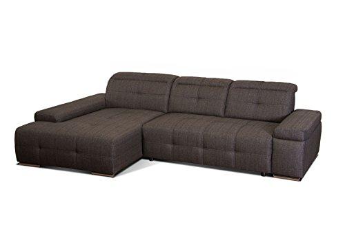 Cavadore Polsterecke Mistrel/Schlafcouch mit Longchair XL Links/Bettfunktion und Kopfteilverstellung/Maße: 273 x 77-93 x 173 (B x H x T) / Farbe: Braun/Schwarz