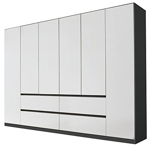 Rauch AA029.4324 Kleiderschrank Mainz 6-türig, griffloses Design/B 271 H 210 T 54 cm/Korpus: Grau-Metallic, Fronten: Alpinweiss