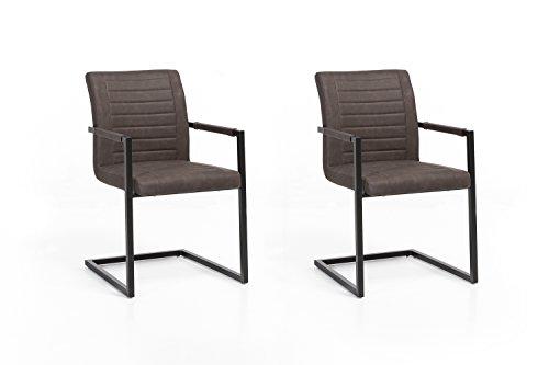 Woodkings 2 x Schwingstuhl Picton Freischwinger mit Armlehne schwarz Metall und Kunstleder marmoriert braun, Esszimmerstuhl mit Armlehne modern, Designstuhl, Metallstuhl, Küchenstuhl 2er Set günstig