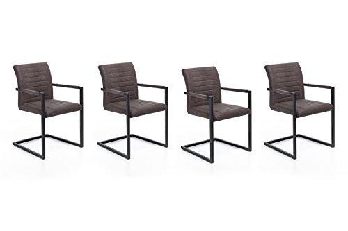 Woodkings 4 x Schwingstuhl Picton Freischwinger mit Armlehne, Metall schwarz und Kunstleder marmoriert braun, Esszimmerstuhl mit Armlehne modern, Designstuhl, Metallstuhl, Küchenstuhl 4er Set günstig