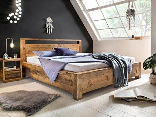 Woodkings Bett 180x200 Havelock Doppelbett recycelte Pinie rustikal Schlafzimmer Massivholz Design Ehebett Balkenbett Massive Naturmöbel Echtholzmöbel günstig