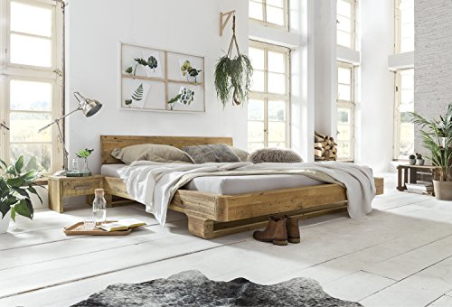 Woodkings Bett 180x200 Mayfield Doppelbett recycelte Pinie Schlafzimmer Massivholz Design Doppelbett Massive Naturmöbel Echtholzmöbel günstig