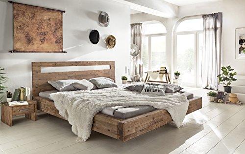 Woodkings Holz Bett 180x200 Marton Doppelbett Akazie gebürstet Schlafzimmer Massivholz Design Doppelbett Schwebebett Massive Naturmöbel Echtholzmöbel günstig
