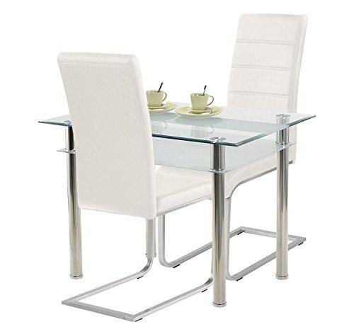 agionda ® Esstisch Kay Jake 120 x 70 + Stuhlset Jan Piet ® Freischwinger 2er Satz hochwertiges PU Kunstleder weiß