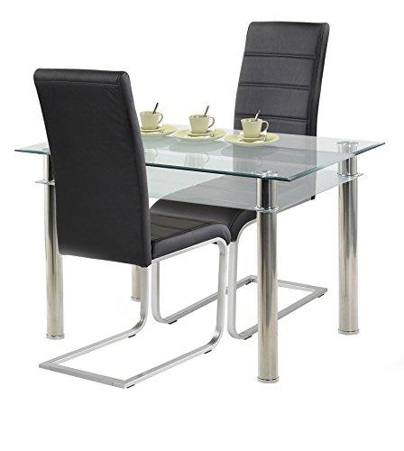 agionda ® Esstisch Kay Jake 120 x 80 + Stuhlset Jan Piet ® 2er Satz hochwertiges PU Kunstleder in schwarz