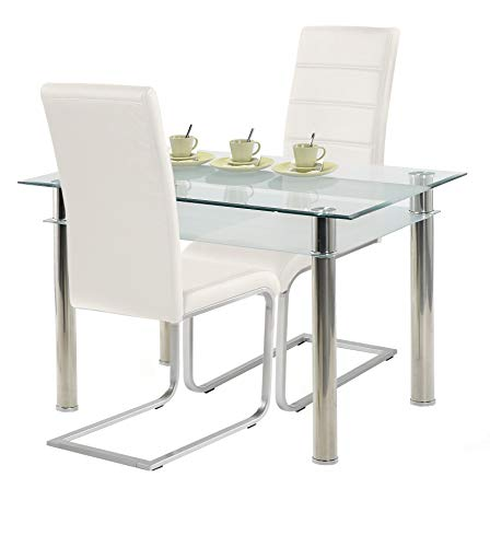 agionda ® Esstisch Kay Jake 120 x 80 + Stuhlset Jan Piet ® 2er Satz hochwertiges PU Kunstleder weiß
