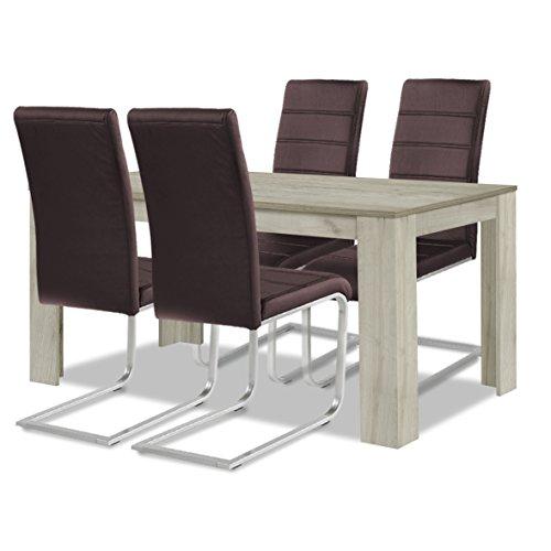 agionda ® Esstisch + Stuhlset : 1 x Esstisch Toledo Eiche Sandeiche 140 x 90 + 4 Freischwinger braun
