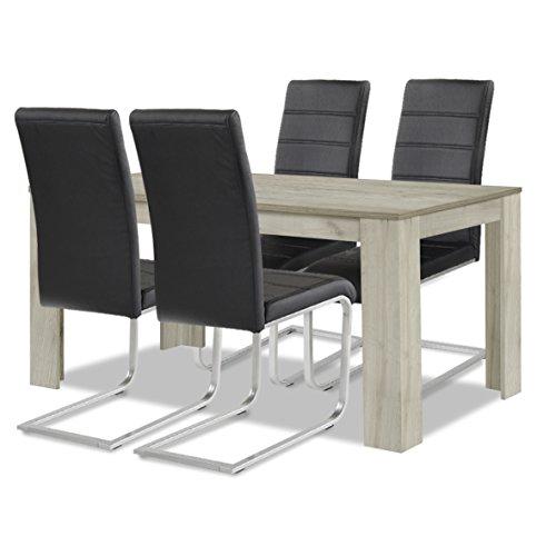 agionda ® Esstisch + Stuhlset : 1 x Esstisch Toledo Eiche Sandeiche 140 x 90 + 4 Freischwinger schwarz