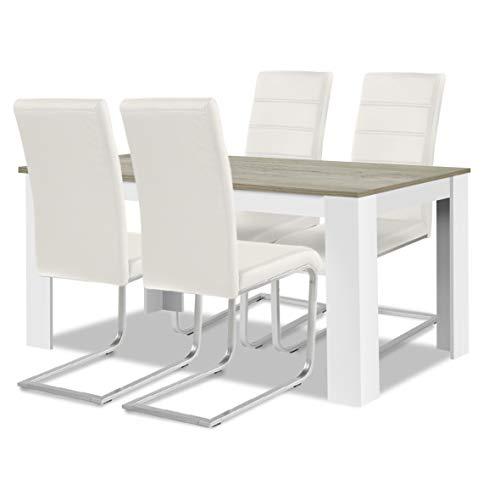 agionda ® Esstisch + Stuhlset : 1 x Esstisch Toledo Eiche Sandeiche Weiss 140 x 90 + 4 Freischwinger Stuhl Weiss