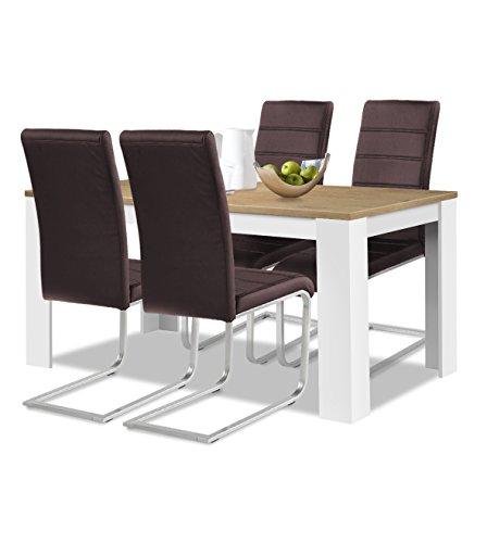 agionda® Esstisch + Stuhlset : 1 x Esstisch Toledo 140 x 90 Wildeiche/Weiss + 4 Freischwinger Kunstleder PU braun