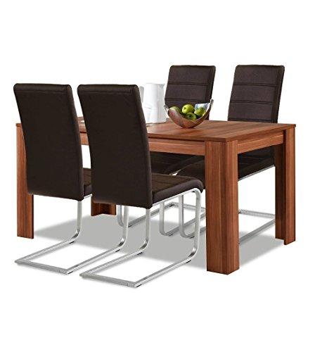 agionda® Esstisch + Stuhlset : 1 x Esstisch Toledo Nussbaum 140 x 90 + 4 Freischwinger braun mit hochwertigem PU Kunstleder