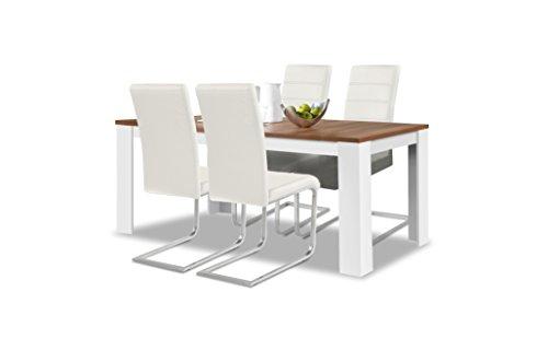 agionda® Esstisch + Stuhlset : 1 x Esstisch Toledo Nussbaum/Weiss 160 x 90 cm + 4 Freischwinger Weiss