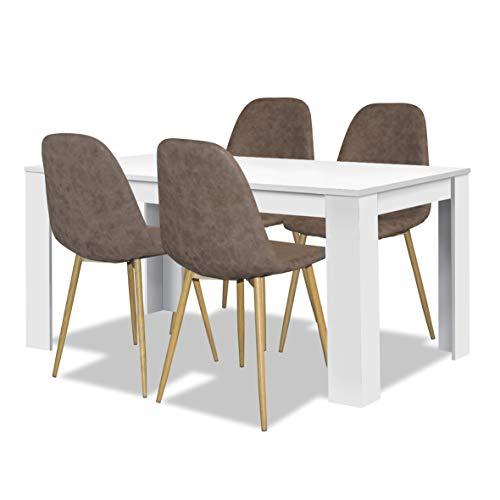 agionda® Esstisch + Stuhlset : Esstisch mit 4 Stühlen 1 x Esstisch Toledo Weiss 140 x 90 + 4 Polsterstühle Pascal Retro Design braun