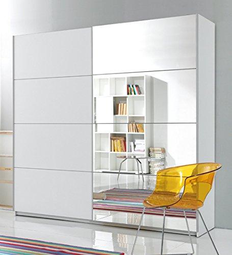 trend-moebel SCHWEBETÜRENSCHRANK 2-TRG. B 200 cm Spiegel Schlafzimmer Weiss