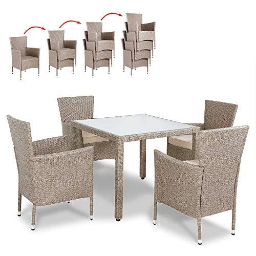 Deuba 4+1/6+1/8+1 Sitzgruppe Sitzgarnitur Grau Beige inkl. 7cm dicken Sitzauflagen