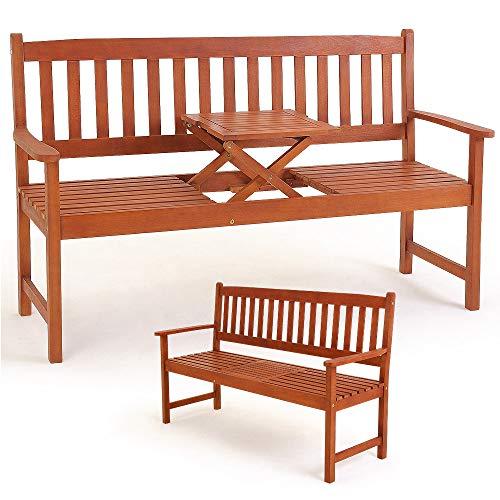 Deuba Gartenbank Picknick Tisch | FSC®-zertifiziertes Eukalyptusholz hochklappbarer Tisch | Holzbank Sitzbank Garten Bank Möbel