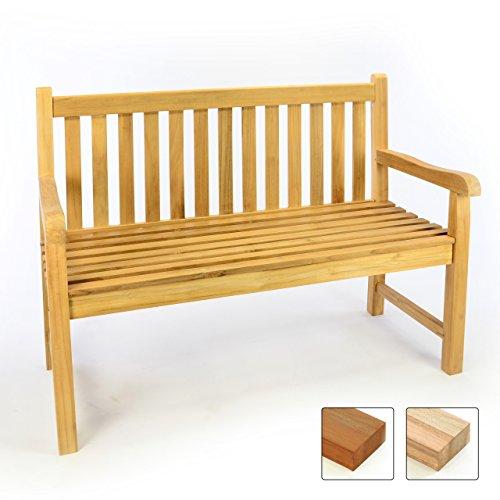 Divero 2-Sitzer Gartenbank 120 cm aus hochwertigem massivem Teak-Holz Reine Handarbeit Sitzbank für 2-Personen