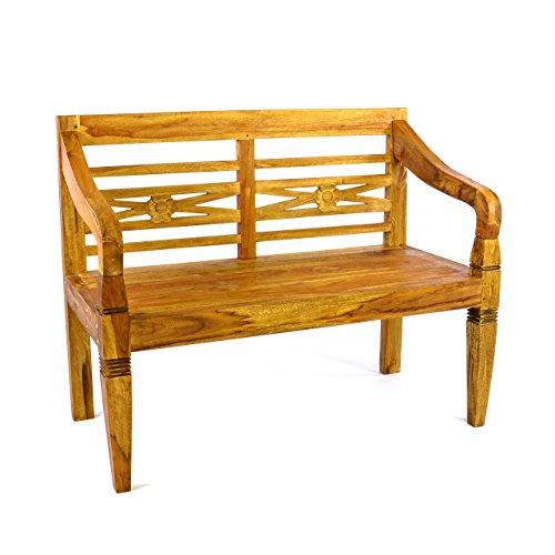 Divero 2-Sitzer antike Gartenbank 115 cm massiv Teak-Holz Handarbeit 2 Personen Bank mit Schnitzereien