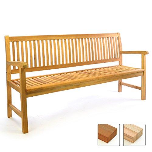 Divero 3-Sitzer Gartenbank 180 cm aus hochwertigem massivem Teak-Holz Reine Handarbeit Sitzbank für 3-Personen